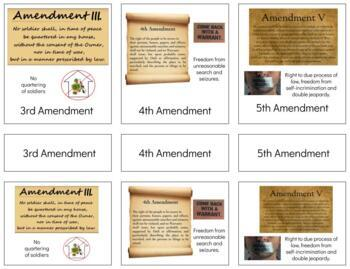 HY002: Constitution\Bill of RIght\1-10 amendments 3 part cards