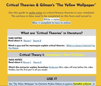 Hyperdoc Critical Literary Theories The Yellow Wallpaper