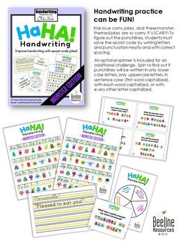 Ha Ha! Handwriting Secret Code Jokes / Practice for Older Kids *MONSTERS*