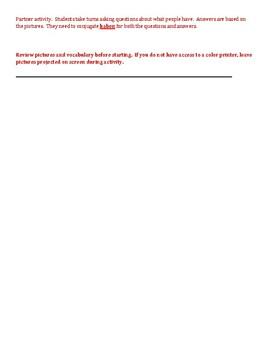 Haben und Schulsachen (School in German) Partner Speaking activity 1