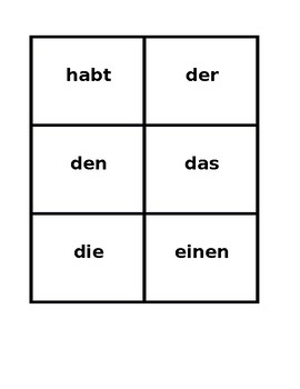 Haben und Schulsachen (School objects in German) Game