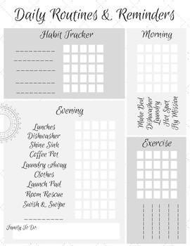 Habit Tracker Printable - Working Flylady Control Journal & Planner System
