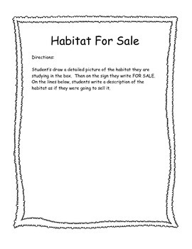 Habitat For Sale Writing Poster