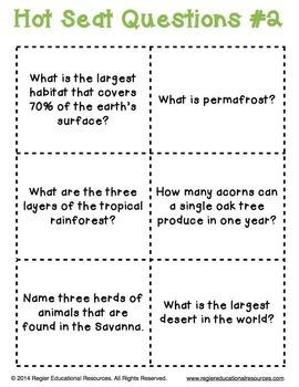 Science Activities | Habitats | Habitat Activity | Hot Seat Questions | FREEBIE