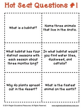 Habitat Activity - Hot Seat Questions FREEBIE