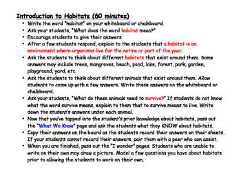 Habitat Inquiry Project (K-3)