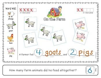 "Addition: ""Habitat Math"" Differentiated Interactive Word Problems (Farm)"