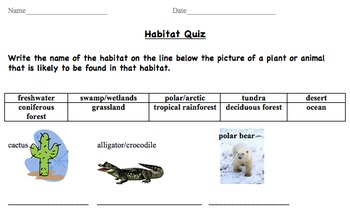 Habitat Quiz - Fill in the blank (match type of habitat to picture)