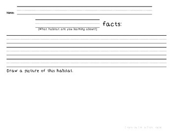 Habitat Research Facts Recording Sheet