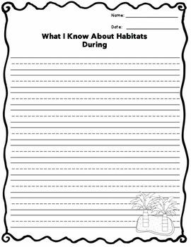 "Habitat ""What I Know"" Templates FREEBIE!"
