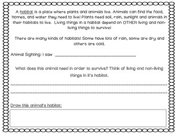 Habitat Worksheet