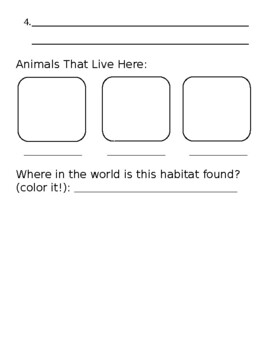Habitat Worksheet with Coloring!