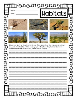 Habitat Writing Second Grade for Next Generation Science Standards