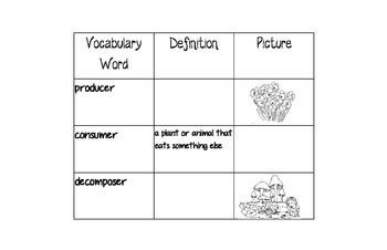 Habitat and Food Chain Vocabulary Book