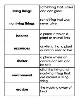 Habitate VOcabulary Matching Cards