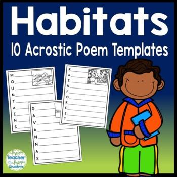 Habitats Writing Activity - Acrostic Poem templates for 10 Habitats