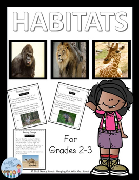 Animal Habitats with Anchor Charts, Reading Passages & Foldable for Grades 2 & 3