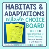 Habitats  & Adaptations Choice Board - Editable