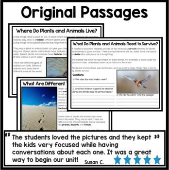 Habitats Bundle Reading Comprehension Passages {Digital and Print and Go}