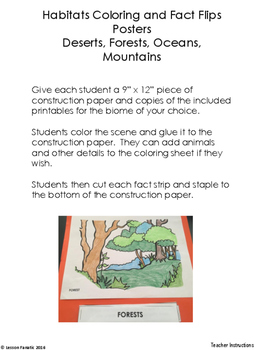 Habitats Coloring and Facts Flip Poster:  Deserts, Forests, Oceans, Mountains