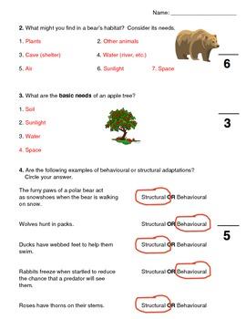 Habitats & Communities Unit Test & Answer Key
