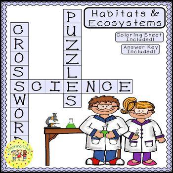 Habitats Ecosystems Science Crossword Puzzle Coloring Worksheet Middle School