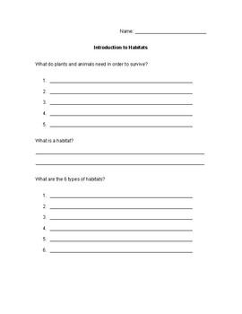 Habitats Introductory Worksheet