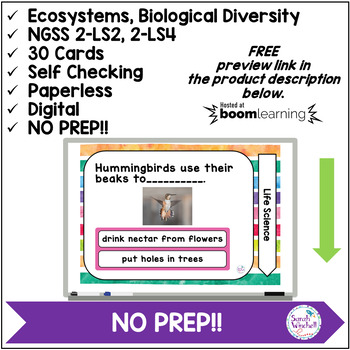 Habitats Plants Animals NGSS 2-LS2 NGSS 2-LS4 Boom Cards