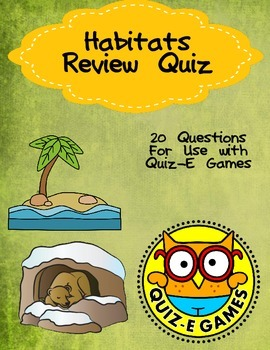 Habitats Review for Third Grade Science for Use in Quiz-E Games