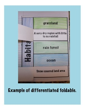 Habitats Science Interactive Foldable