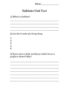 Habitats Unit Test