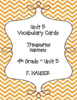 """Habitats"" Vocabulary Cards from Treasures 4th Grade - Unit 5"
