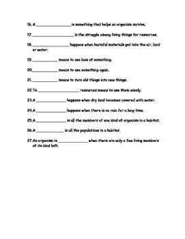 Habitats Vocabulary Review (3rd Grade Science)