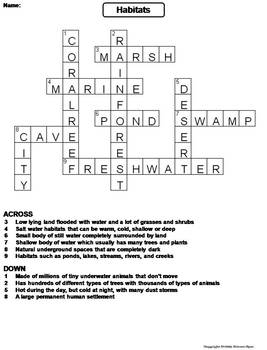 Habitats Worksheet/ Crossword Puzzle