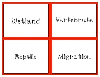 Habitats and Classification Vocabulary Task Cards in Red (