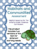 Habitats and Communities Grade 4 Ontario Test
