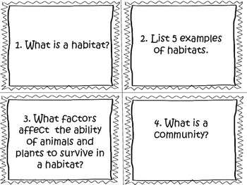 Habitats and Communities Task Cards