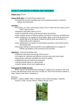 Habitats and Community Unit Plan