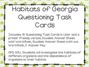 Habitats of Georgia Task Cards - Aligned to GPS with Differentiated WS