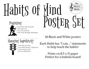 Habits of Mind Poster Set: Black & White Full Sheets