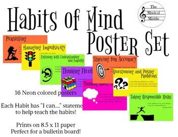 Habits of Mind Poster Set: Neon Full Sheets