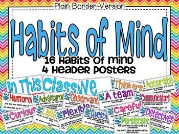 Habits of Mind Poster Set: Plain Border Version
