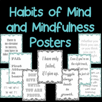 Habits of mind and mindfulness posters in teal and gray- 40 different 80 posters