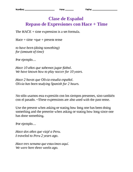 Hace + Time Class Notes and Engaged Activity