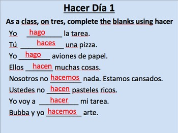 Hacer Initial Presentation--present tense