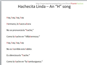 Hachecita Linda: A Song for Spanish Teachers to Teach Silent H