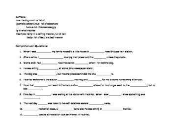 Hachiko Comprehension Questions and Vocabulary Think Sheet