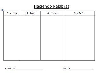 Haciendo Palabras - Making Words in Spanish on SmartBoard