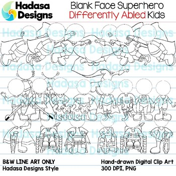 Hadasa Designs: Blank Face Differently Abled Superhero Kids - B&W Only