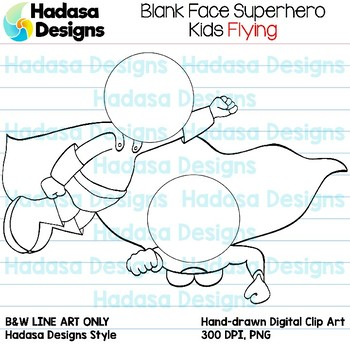 Hadasa Designs: Blank Face Superhero Kids Flying - Black and White Only